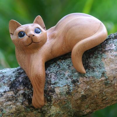 Wood sculpture, 'Watchful Ginger Cat' - Hand Carved Kitty Cat Sculpture in Medium Wood Finish