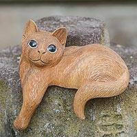 Wood sculpture, 'Watchful Long Haired Cat' - Wood Cat Sculpture Hand Carved in Indonesia