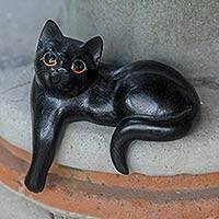 Wood sculpture, 'Watchful Black Cat' - Hand Carved Wooden Cat Sculpture with Black Finish
