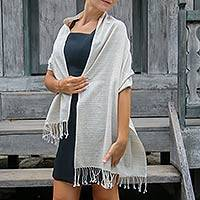 Cotton shawl, 'Bukit Lurik' - Striped Cotton Shawl Crafted with All Natural Dyes