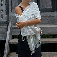 Cotton shawl, 'Bukit Cloud' - Hand Woven Off White Cotton Shawl from Indonesian Artisan