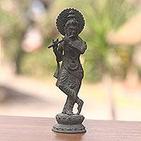 Bronze statuette, 'Krishna' - Bronze Sculpture of Krishna with Antiqued Patina