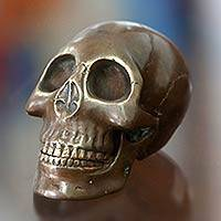 Bronze sculpture, 'Trunyan Treasure' - Cast Bronze Skull Sculpture Handmade in Indonesia