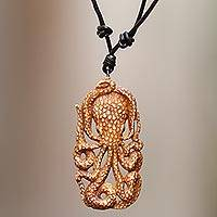 Bone pendant necklace, 'Bali Octopus' - Octopus Pendant Necklace Hand Carved of Cow Bone