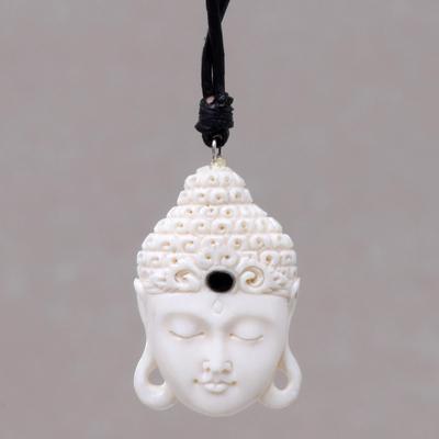Bone pendant necklace, 'White Buddha Head' - Buddha Head Cow Bone Pendant on Adjustable Leather Cord