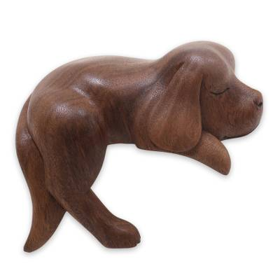 Wood sculpture, 'Sleepy Cocker Spaniel' - Sleeping Cocker Spaniel Puppy Sculpture Carved in Wood