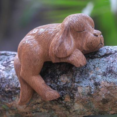 Wood sculpture, 'Long-Haired Cocker Spaniel' - Sleepy Cocker Spaniel Puppy Sculpture Hand Carved in Wood