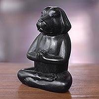 Wood sculpture, 'Meditating Black Puppy' - Wood Sculpture of Black Puppy Dog in Meditation Pose