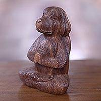 Wood sculpture, 'Meditating Long-Haired Puppy'