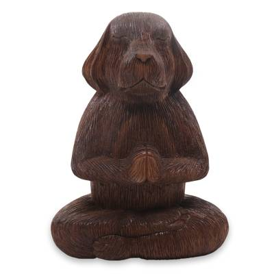 Wood sculpture, 'Meditating Long-Haired Puppy' - Wood Sculpture of Meditating Long Haired Puppy Dog