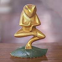 Wood statuette, 'Vrkasana Yoga Frog' - Handmade Wood Frog Yoga Statuette with Golden Finish