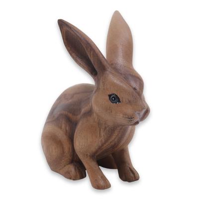Wood sculpture, 'Cute Ginger Rabbit' - Fair Trade Hand Carved Wooden Rabbit Statuette