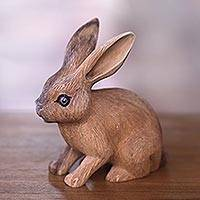 Wood sculpture, 'Long-Haired Ginger Rabbit' - Wooden Rabbit Statuette Carved by Hand in Bali