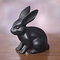 Wood sculpture, 'Cute Black Rabbit' - Adorable Black Bunny Sculpture Hand Carved in Suar Wood