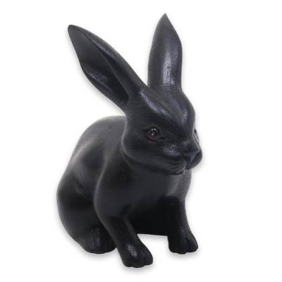 Wood sculpture, 'Cute Black Rabbit' - Adorable Black Bunny Sculpture Hand Carved in Suar Wood