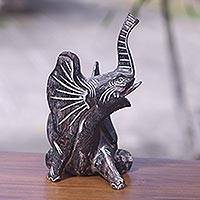Wood statuette, 'Awake' - Artisan Crafted Black Elephant Sculpture Accented with Gilt