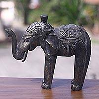 Wood sculpture, 'Royal Elephant' - Fair Trade Wood Elephant Sculpture Handmade in Bali