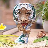 Wood mask sculpture, 'Dragon Sky' - Surreal Handpainted Wood Mask with Dragon Motif