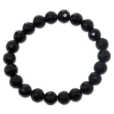 Stretch Bracelet from Bali with Faceted Round Onyx Beads