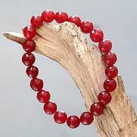 Agate beaded stretch bracelet, 'Sanur Cherry' - Faceted Red Agate Beaded Stretch Bracelet for Women