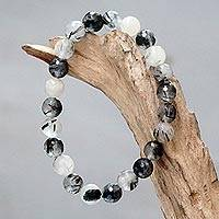 Tourmalinated quartz beaded stretch bracelet, 'Sanur Storm' - Artisan Crafted Beaded Bracelet with Tourmalinated Quartz