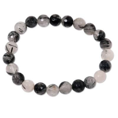 Tourmalinated quartz beaded stretch bracelet, 'Sanur Storm' - Artisan Crafted Beaded Bracelet with Tourmalinated Quartz