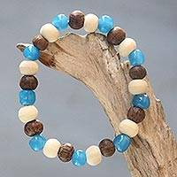 Beaded bracelet, 'Colorful Morning' - Artisan Crafted Stretch Bracelet with Wood and Ceramic Beads