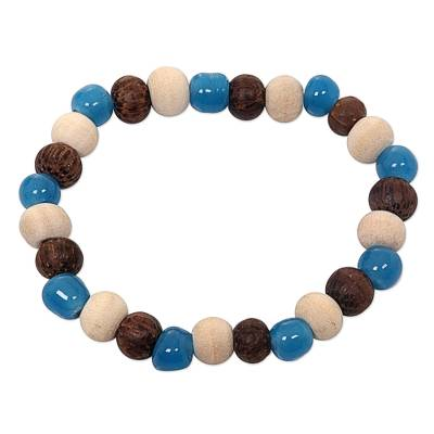 Artisan Crafted Stretch Bracelet with Wood and Ceramic Beads