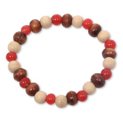 Beaded Stretch Bracelet with Ceramic and Wood Beads