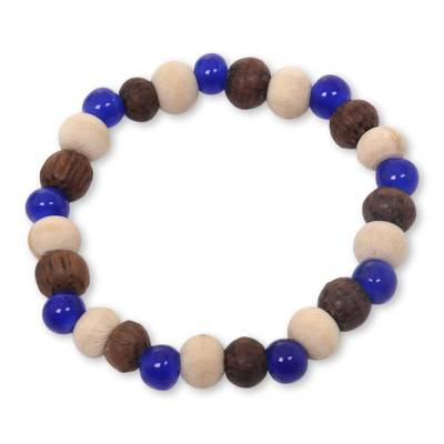 Handcrafted Stretch Bracelet with Ceramic and Wood Beads