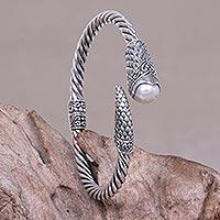 Cultured pearl bangle bracelet,