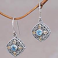 Gold accented blue topaz dangle earrings, 'Gardenia' - 18k Gold Accented Sterling Silver Earrings with Blue Topaz