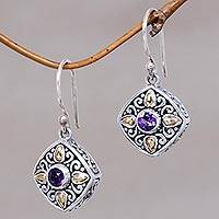 Gold accented amethyst dangle earrings, 'Gardenia'
