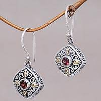 Gold accented garnet dangle earrings, 'Gardenia' - Sterling Silver and 18k Gold Dangle Earrings with Garnets