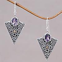 Gold accented amethyst dangle earrings, 'Miracle' - Triangular Dangle Earrings with Amethysts in Sterling Silver