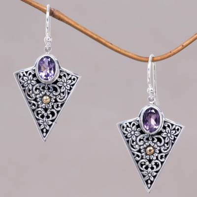 Gold accented amethyst dangle earrings, 'Miracle' - Sterling Silver Dangle Earrings with 24K Gold Plate Accents