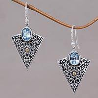 Gold accented blue topaz dangle earrings, 'Miracle'