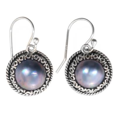 Cultured pearl dangle earrings, 'Shadow' - Sterling Silver Dangle Earrings with Natural Peacock Pearls