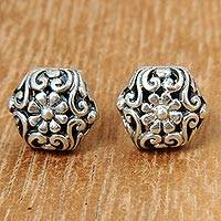 Sterling silver button earrings, 'Daisy' - Hexagonal Sterling Silver Button Earrings with Daisy Motif