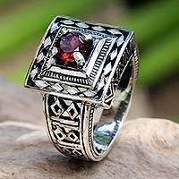 Garnet cocktail ring, 'Ayung Terraces'