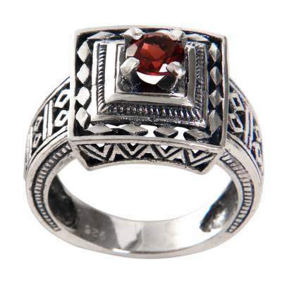 Garnet cocktail ring, 'Ayung Terraces' - Artisan Crafted Engraved Sterling Silver and Garnet Ring