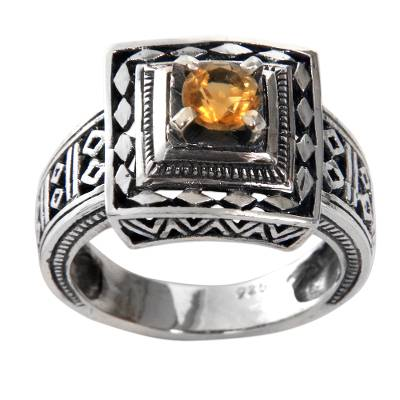 Artisan Crafted Engraved Sterling Silver and Citrine Ring