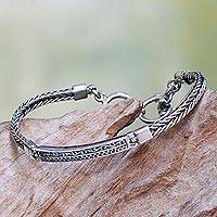 Sterling silver pendant bracelet, 'Ayung Wave'