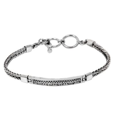 Sterling silver pendant bracelet, 'Ayung Wave' - Artisan Designed Sterling Silver Pendant Bracelet from Bali