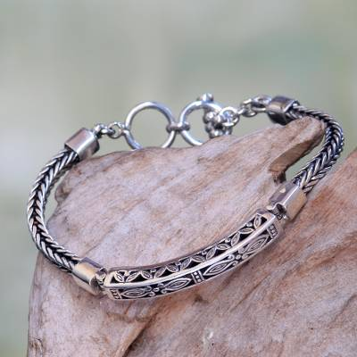 Hand Crafted Engraved Sterling Silver Bracelet from Bali ...