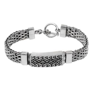 Panther Link Chain Bracelet with Pendant in 925 Silver