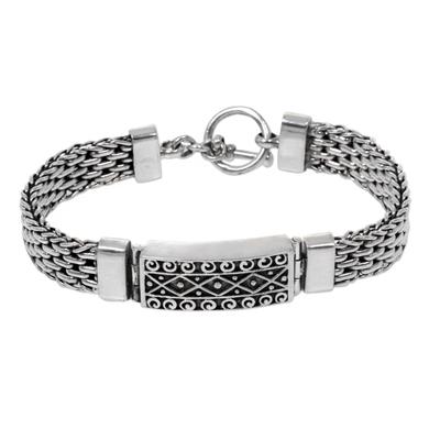 Sterling silver pendant bracelet, 'Bali Spirit' - Panther Link Chain Bracelet with Pendant in 925 Silver