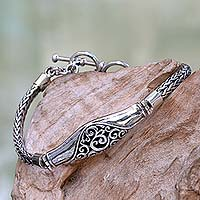 Sterling silver bracelet, 'Magnificent Wave' - Sterling Silver Naga Chain Bracelet from Bali