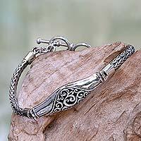 Sterling silver bracelet, 'Magnificent Wave' - Sterling Silver Naga Chain Bracelet from Bali