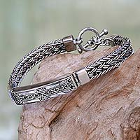 Men's sterling silver pendant bracelet, 'Denpasar Braid'
